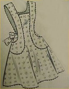 Vintage Bib Full Size Apron Pattern Classic 40s Details