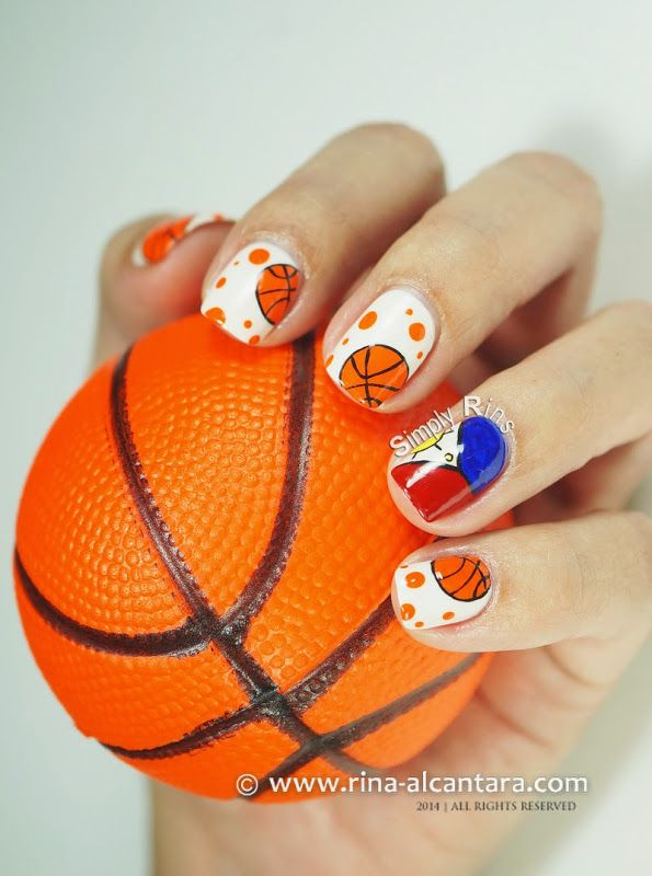 Basketball Nail Art by Simply Rins nail art basketball sports.  Cute nail art designs via their site.