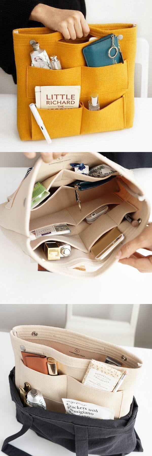 Hot Sale!Bag in Bag Felt Casual Travel Multi-pockets Storage Bag Liner Package Cosmetic Bag