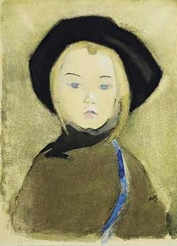 Helene Schjerfbeck (1862-1946) Girl With Blue Ribbon 1943