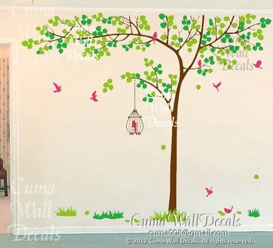 tree wall decals birds nature vinyl wall decals birds wall mural nursery wall decal office- Huge tree Z155 Cuma. $95.00, via Etsy.