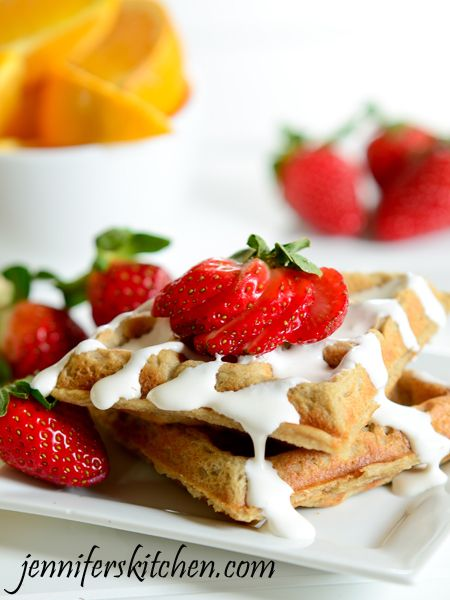 Whole Grain Wheat and Strawberry Waffles. Recipe and video.