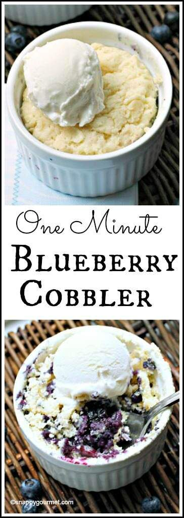 One Minute Blueberry Cobbler recipe - easy mini dessert with fresh blueberries that cooks in one minute! SnappyGourmet.com