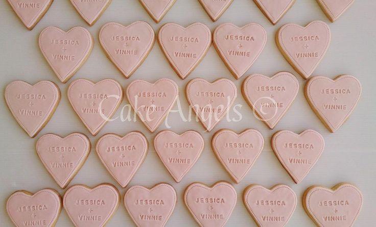 Pink Heart Wedding Favour Cookies