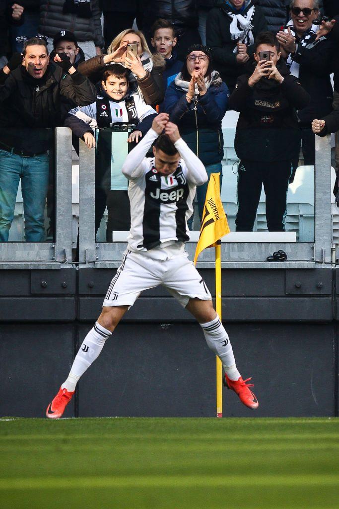 49c5483a432 Juventus forward Cristiano Ronaldo (7) celebrates after scoring his goal  during the Serie A football match n.19 JUVENTUS - SAMPDORIA on 29 12 2018  at the ...