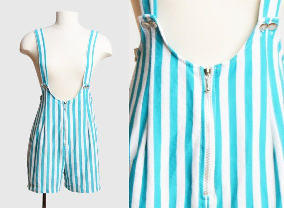 Vintage 80s Striped Suspenders Playsuit Romper / 1980s Blue and White Zip Up One Piece Playsuit Shorts Overalls Sleeveless
