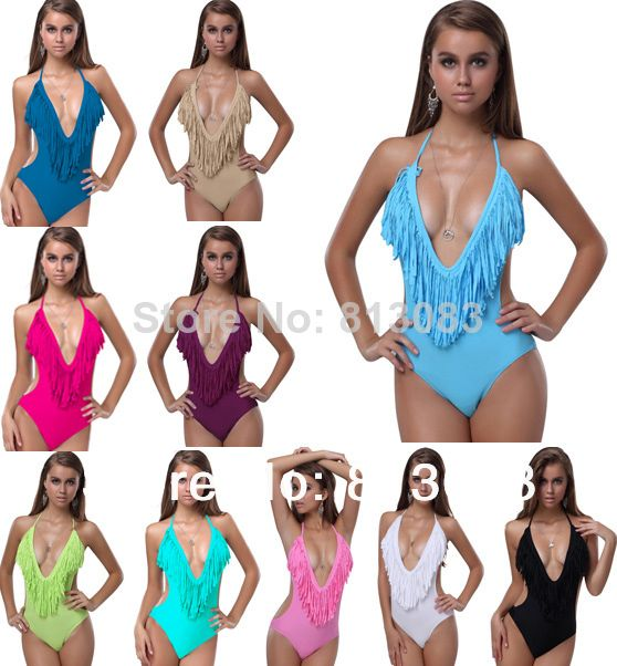 2014 Newest Sexy Women V-neck Fringe Tassel Monokini Swimsuit Conjoined Swimwear Bikini 10 Colors S/M/L US $8.88 - 11.88