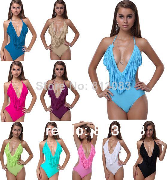 2014 Newest Sexy Women V-neck Fringe Tassel Monokini Swimsuit Conjoined Swimwear Bikini 10 Colors S/M/L US $8.88 - 11.88