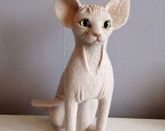 Aangepaste portret naald Gevilte wol pop Sphynx kat