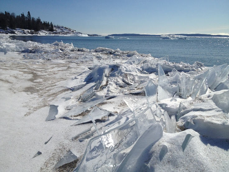 Beautiful icy Lake Superior in Terrace Bay