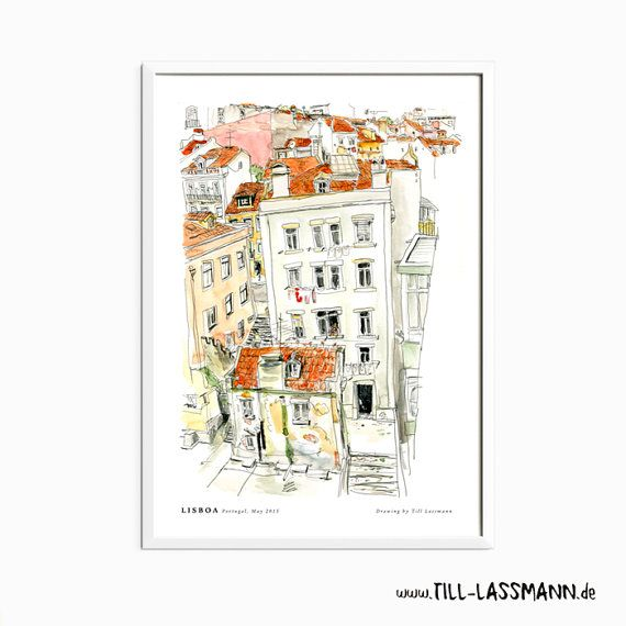 Lisboa * Portugal * Poster * Architectural Drawing * Mediterran * Fine Art to…