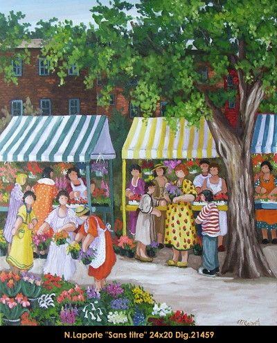 Nicole Laporte original oil painting on canvas #nicolelaporte #art #artist #canadianartist #quebecartist #naiveart #summerscene #flowermarket #originalpainting #oilpainting #balcondart #multiartltee