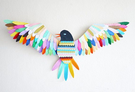 Bird // Wall mounted paper artwork