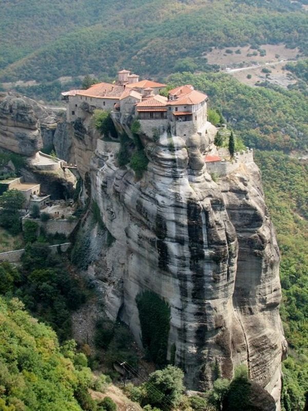 The Monasteries Of Meteora In Greece Built In The 14th Century Upon Naturally Occurring