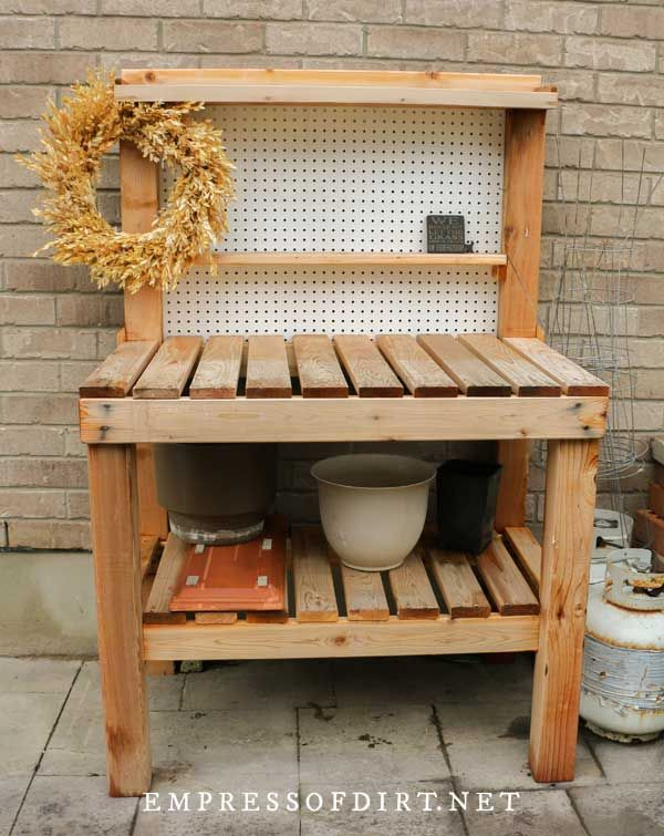 14 Creative And Functional Potting Bench Ideas Empress Of Dirt In 2020 Potting Bench Outdoor Potting Bench Pallet Potting Bench