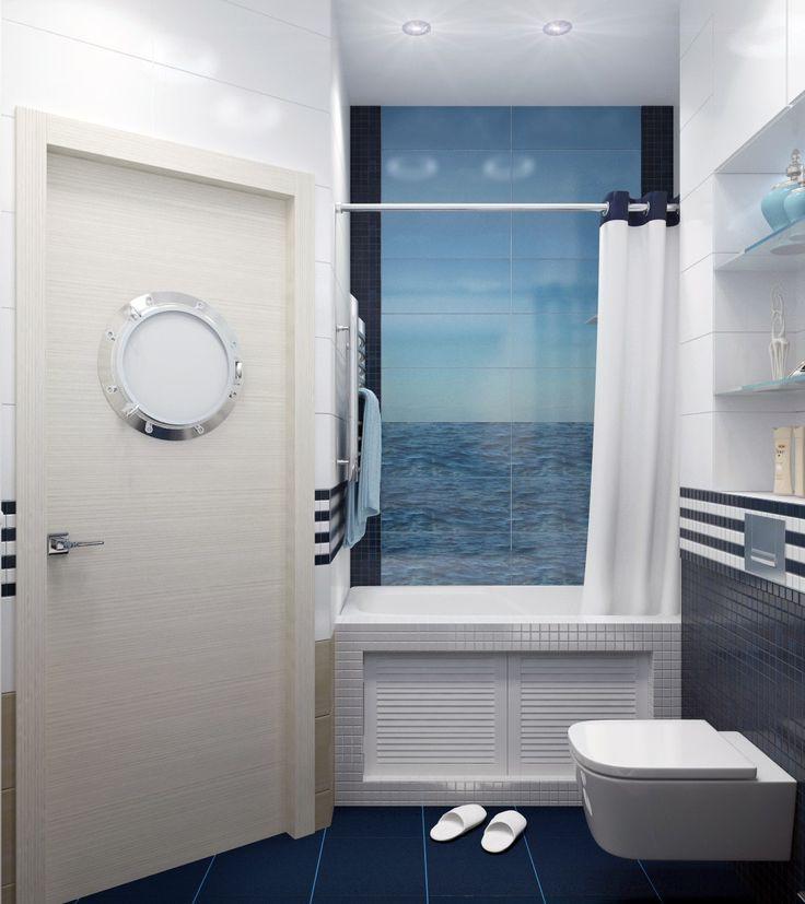 Дизайн интерьера 1к.кв. в ЖК Калипсо (55 кв.м.) Небольшая, но очень уютная квартирка для молодой семьи, влюбленной в море! Очень приятно, когда увлечения заказчиков отражаются в интерьере. Двери с окнами, имитирующими иллюминатор, были сделаны на заказ. Плитка с фотопечатью, фотообои с морской тематикой, отделка канатом - все это элементы, которые в целом составляют готовый, оформленный интерьер с душой!