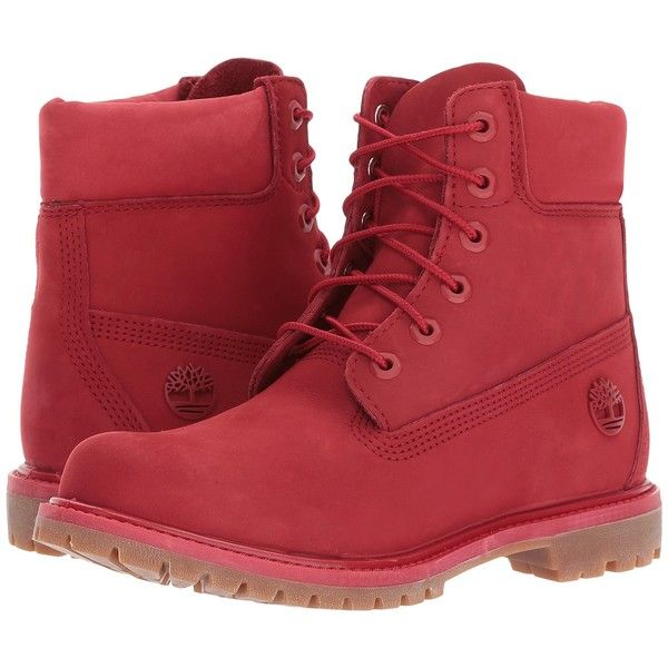 Timberland 6 Premium Boot (Ruby) Women's Boots (€110) ❤ liked on Polyvore featuring shoes, boots, ankle boots, red, platform ankle boots, red boots, waterproof ankle boots and long boots
