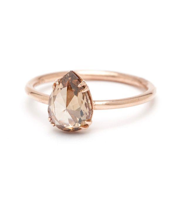 Simple Solitaire - Pear Shape Rose Cut 1.86ct Champagne Diamond