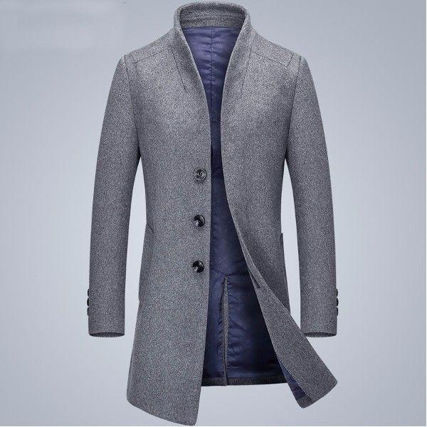Sale 26% (79.54$) - Autumn Winter Fashion Style Woolen Long Trench Coat Mens Casual Business Overcoat Windbreaker