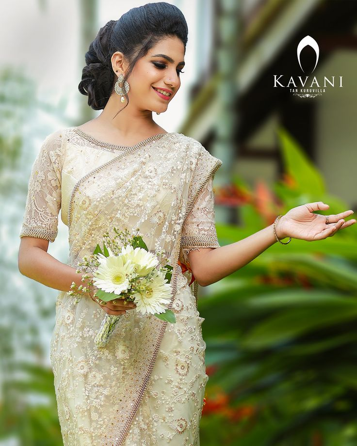 Christian Wedding White Gown: Pin By Kavani On Christian Wedding Saree In 2019