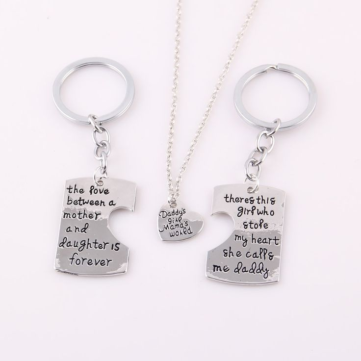 2pcs daddy mother daughter family keychain 1pcs daddy's girl mama's world necklace set  Pendant for Women jewelry