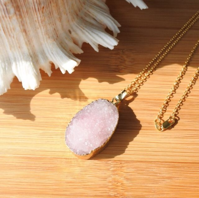 Pink druzy 18gold filled necklace  Druzy18kgfネックレス ピンク | launa