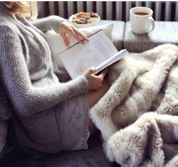This looks so cozy! #reading #tea