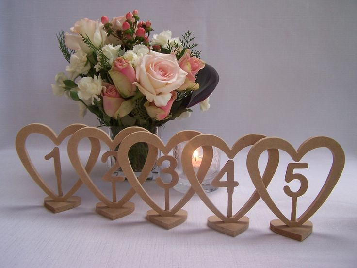 Heart base wedding table numbers