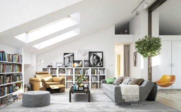 salon scandinave, deco salon gris et blanc avec des touches de couleur ...