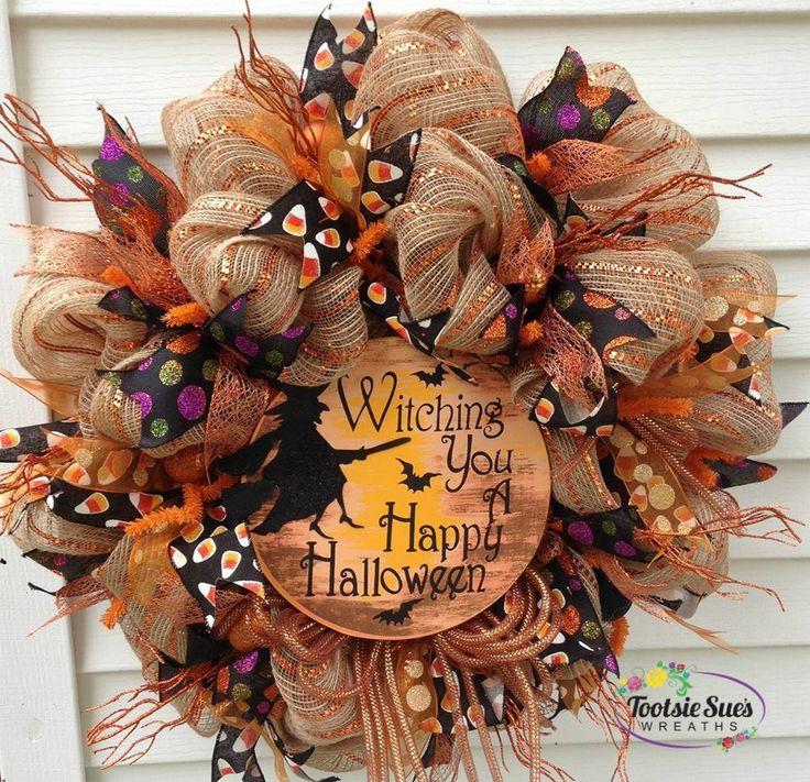 happy halloween burlap deco mesh wreath wwwetsycomshoptootsiesueswreaths - Halloween And Fall Decorations