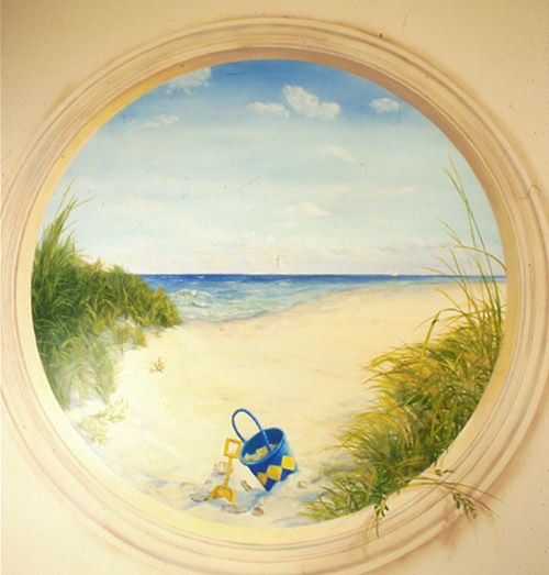 Trompe L'Oeil Window | ... and Decorative Painting • Trompe l'oeil Window with Beachscene