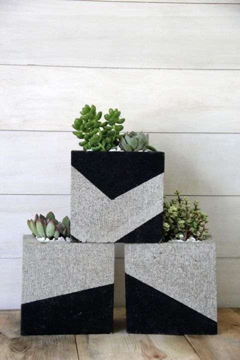 diy cinder block planter for succulents