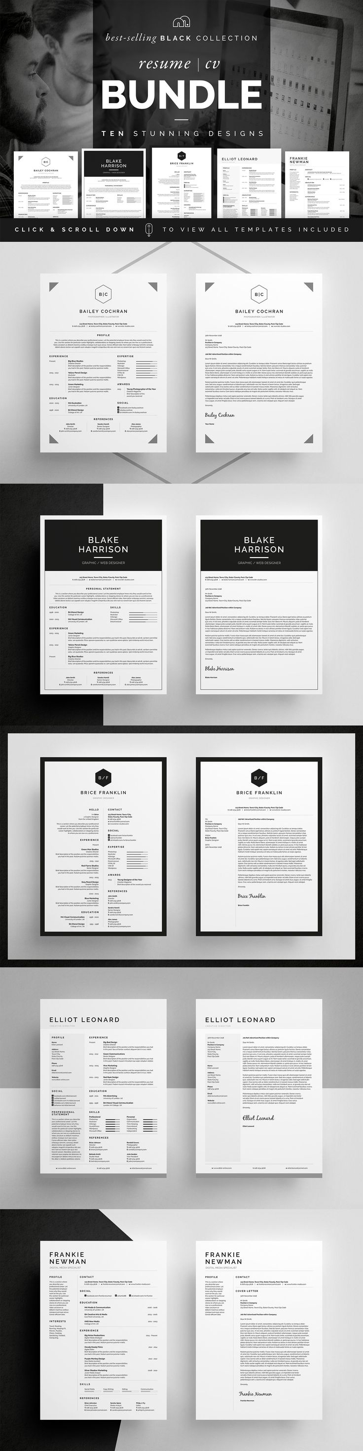 Resume/CV Bundle - Black Collection by bilmaw creative on @creativemarket All artwork and text is fully customisable; Easily edit the typography, wording, colors and layout. Each template uses a strong baseline/document grid which will allow you to edit or add to the layout very easily.