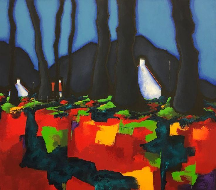 Autumn.  Road to Carradale. 90 x 100cm. Acrylic on Canvas. (C) BauenArt 2016