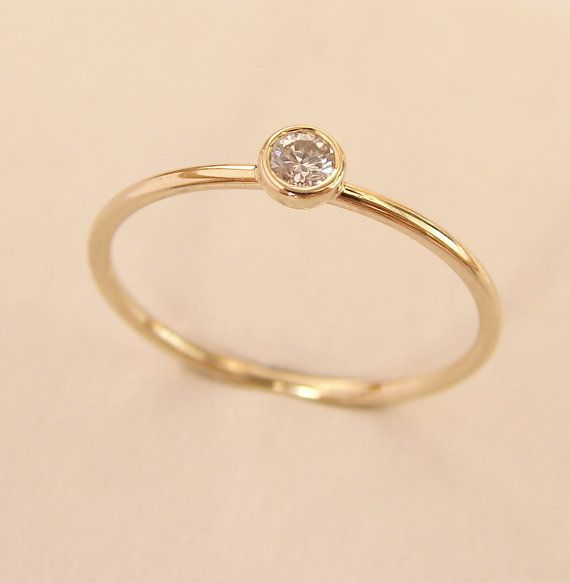 Gold-Diamant-Ring, Runde Diamant-Ring, Diamant Goldring, einfache Diamant-Ring, Gold Verlobungsring, Diamant-Verlobungsring, 14k Gold Ring