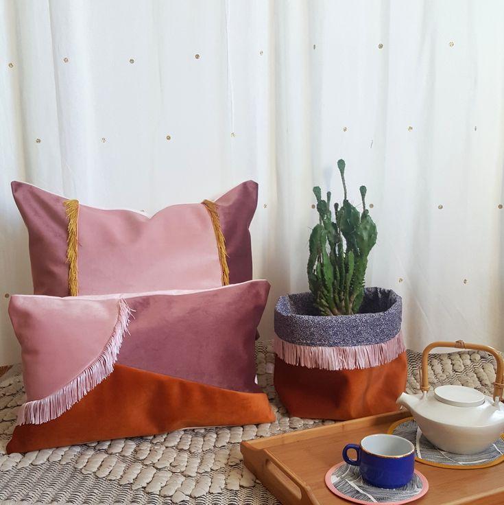 Cache pot et coussin velours et franges terracotta 2018 gioia june décoration textile made