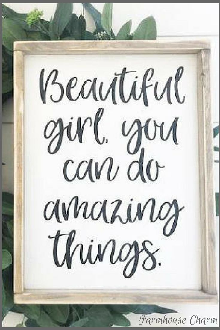 Beautiful Girl You Can Do Amazing Things Sign Rustic Chic Framed