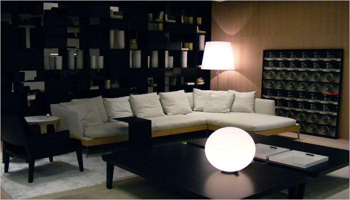 moderne woonkamer met boekenrek voor bibliotheek