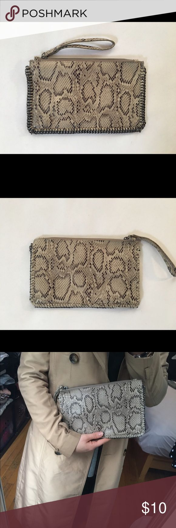 Mango Clutch with snake pattern Small clutch with zipper in (fake) snake fabric from Mango Mango Bags Clutches & Wristlets