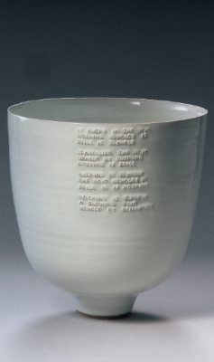 rupert spira - Deep Bowl with embossed poem under white glaze