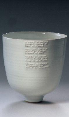 rupert spira - Deep Bowl with embossed poem under white glaze