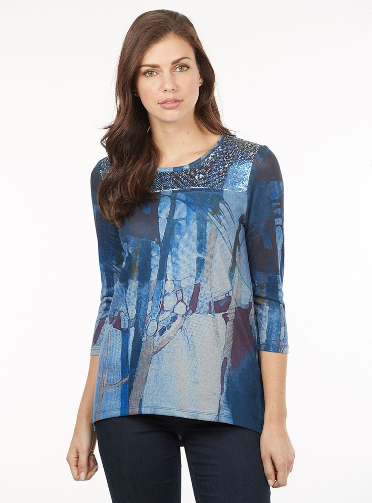 FDJ French Dressing Jeans Nightfall Glimmer Top in Blue Mix