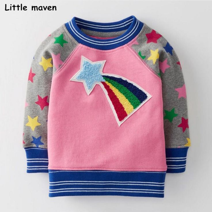 Little maven 2017 winter new baby girl brand clothes girls rainbow star warm soft nap thick t shirt C0090 //Price: $31.74 //     #kids