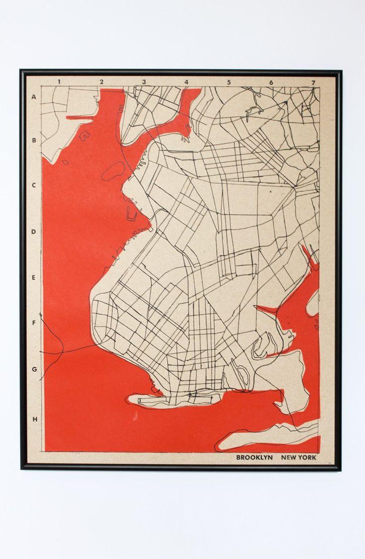 Best Maps New York Images On Pinterest - New york map restoration hardware
