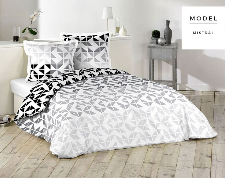 Bavlnené biele posteľné návliečky s geometrickým vzorom