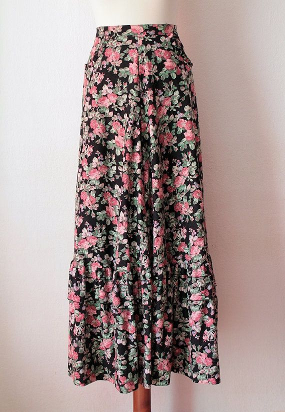 Vintage Maxi Skirt Boho Hippie Skirt with by PaperdollVintageShop