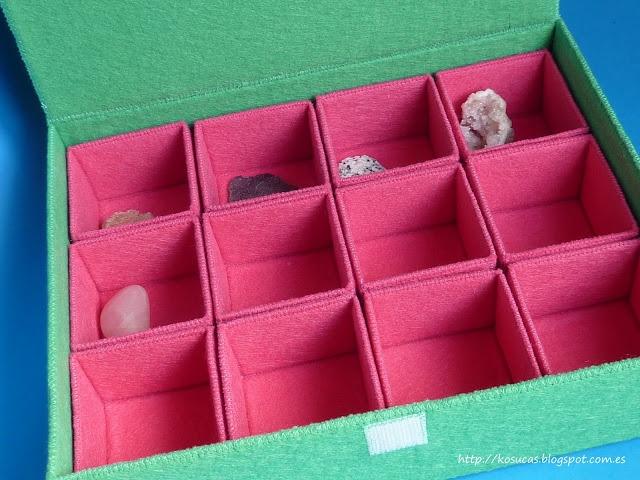 Felt box for minerals.  Caja de fieltro para minerales.