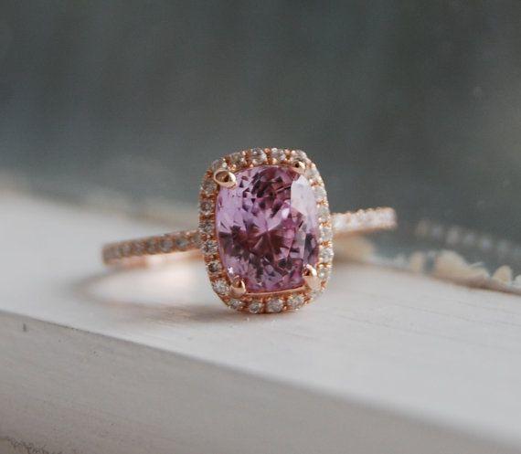 2ct cushion mauve blush peach champagne sapphire 14k rose gold diamond ring engagement ring
