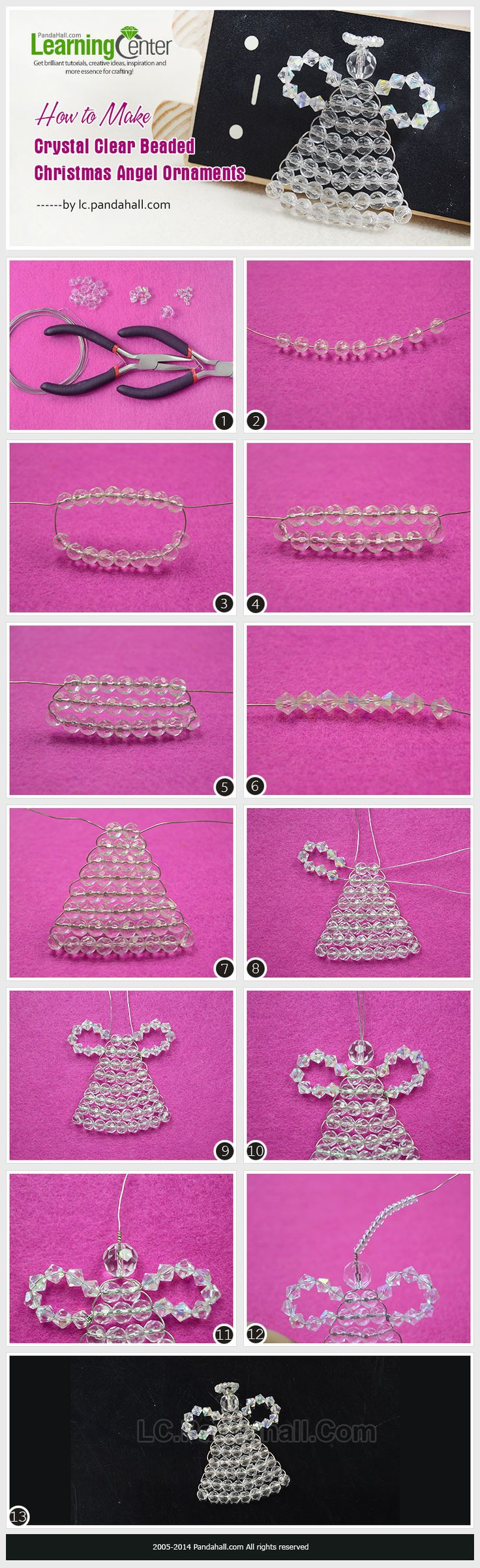 How to Make Crystal Clear Beaded Christmas Angel Ornaments