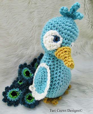 Teri Crews Designs: New Simply Cute Peacock Crochet Pattern